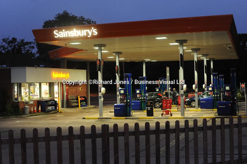 Sainsbury's Petrol station at night in Merthyr Tydfil, Wales, UK