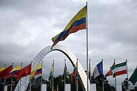 Bogotá, Colombia 15/12/2012. Corferias Bogotá, Colombia.Arco de la entrada del Recinto de ferias y exposiciones..Gateway arch of Fairs and exhibitions.Photo: VizzorImage
