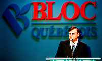 Montreal, April 7, 1995 File Photo.<br /> (At that time) Leader of the Bloc Quebecois ; Lucien Bouchard giving the opening speech at the Bloc Quebecois convention  in Montreal on April 7, 1995. <br /> The Bloc Quebecois is the Federal party promoting Quebec's independance at the House of Commons in Ottawa (Canada). It's actual leader is Gilles Duceppe.<br /> Lucien Bouchard is now (april 2000)   leader of the Parti Quebecois and also  Premier of Quebec Province.).<br /> <br /> Phoo by Pierre Roussel,(c)  1995