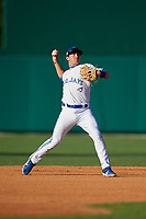 Dunedin Blue Jays shortstop Logan Warmoth (7) throws to first base during a Florida State League game against the Lakeland Flying Tigers on April 18, 2019 at Jack Russell Memorial Stadium in Clearwater, Florida.  Dunedin defeated Lakeland 6-2.  (Mike Janes/Four Seam Images)