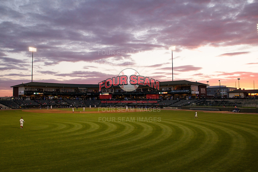 Dow Diamond in Midland, Michigan on May 18, 2016. The Great Lakes Loons defeated the South Bend Cubs 5-4. (Andrew Woolley/Four Seam Images)