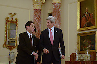 Washington, DC - February 7, 2014: Secretary of State John Kerry and Japanese Foreign Minister Fumio Kishida enter the Ben Franklin Room at the State Department after a meeting, February 7, 2014. (Photo by Don Baxter/Media Images International)