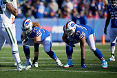 Buffalo Bills guard Wyatt Teller (75) and Dion Dawkins (73) on the line during an NFL football game against the New York Jets, Sunday, December 9, 2018, in Orchard Park, N.Y.  (Mike Janes Photography)