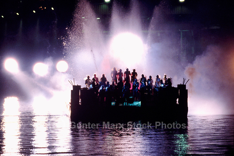 """""""Urban Sax"""", the European Progressive Rock Group from France, performing on a Floating Barge at Night"""