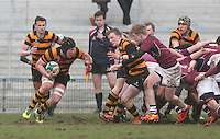 CAI vs RBAI | Tuesday 3rd March 2015<br /> <br /> Mark Mairs picks up during the 2015 Ulster Schools Cup Semi-Final between Coleraine Inst and RBAI at the Kingspan Stadium, Ravenhill Park, Belfast, Northern Ireland.<br /> <br /> Picture credit: John Dickson / DICKSONDIGITAL