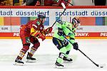 Eishockey DEL 37. Spieltag: Düsseldorfer EG vs <br /> ERC Ingolstadt am 07.04.2021 im ISS Dome in Düsseldorf<br /> <br /> Düsseldorfs Matthew Carey (Nr.19) gegen Ingolstadts Mathew Bodie (Nr.22)<br /> <br /> Foto © PIX-Sportfotos *** Foto ist honorarpflichtig! *** Auf Anfrage in hoeherer Qualitaet/Aufloesung. Belegexemplar erbeten. Veroeffentlichung ausschliesslich fuer journalistisch-publizistische Zwecke. For editorial use only.