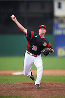 Batavia Muckdogs relief pitcher Brent Wheatley (30) during a game against the West Virginia Black Bears on August 21, 2016 at Dwyer Stadium in Batavia, New York.  West Virginia defeated Batavia 6-5. (Mike Janes/Four Seam Images)