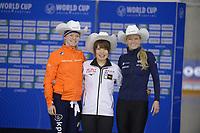 SPEEDSKATING: Calgary, The Olympic Oval, 08-02-2020, ISU World Cup Speed Skating, Podium 1500m Ladies Division B, Sanneke de Neeling (NED), Ayano Sato (JPN), Mia Kilburg-Manganello (USA), ©foto Martin de Jong