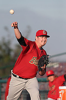 Trevor Cahill #29 of the Visalia Rawhide warms up in the bullpen before pitching against the Inland Empire 66ers at San Manuel Stadium on June 12, 2014 in San Bernardino, California. Inland Empire defeated Visalia, 4-2. (Larry Goren/Four Seam Images)