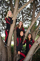 (T-B) Jessica Guenther, Madison Crocker, Wendy Lu and Danielle Rossoni of the 2010 Stanford Synchronized Swimming team.