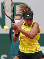 29th September 2020, Roland Garros, Paris, France; French Open tennis, Roland Garros 2020; Mayar Sherif of Egypt returns the ball during womens singles first round match against Karolina Pliskova of Czech Republic at French Open