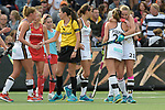NED - Amsterdam, Netherlands, August 20: During the women Pool B group match between Germany (white) and England (red) at the Rabo EuroHockey Championships 2017 August 20, 2017 at Wagener Stadium in Amsterdam, Netherlands. Final score 1-0. (Photo by Dirk Markgraf / www.265-images.com) *** Local caption *** (R-L) Franzisca Hauke #21 of Germany, Cecile Pieper #22 of Germany