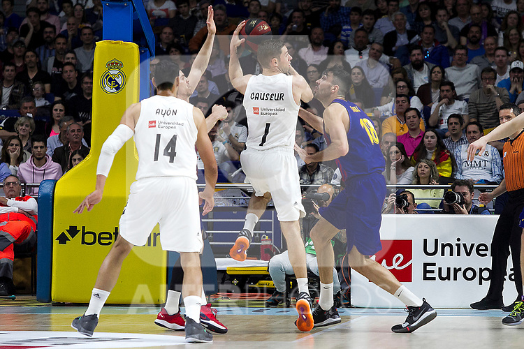 Real Madrid's Gustavo Ayon, Real Madrid's Fabien Caseur and Barcelona's Pierre Oriola during Liga Endesa match between Real Madrid and FC Barcelona Lassa at Wizink Center in Madrid, Spain. March 24, 2019.  (ALTERPHOTOS/Alconada)