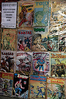 Old Turkish children's comics on display including Tin Tin and Superman, Turkey