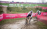 World Cup Leader Wout van Aert (BEL/Jumbo-Visma) & his ever nemesis CX world champion Mathieu Van der Poel (NED/Alpecin-Fenix) close behind<br /> <br /> 2021 UCI CX World Cup Overijse (BEL)<br /> Vlaamse Druivencross<br /> <br /> Men's Race<br /> <br /> ©kramon
