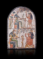 "Ancient Egyptian Ra stele , limestone, New Kingdom, 19th Dynasty, (1279-1190 BC), Deir el-Medina,  Egyptian Museum, Turin. black background<br /> <br /> Akh iqer en Ra "" the excellent spirit of Ra' stele. One of three stele forund in different rooms of houses in Deir el-Medina where they stood in niches"