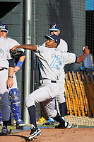 Wilmington Blue Rocks pitcher Yordano Ventura #25 pitching during a game against the Myrtle Beach Pelicans at Tickerreturn.com Field at Pelicans Ballpark on April 8, 2012 in Myrtle Beach, South Carolina. Wilmington defeated  Myrtle Beach 3-2. (Robert Gurganus/Four Seam Images)