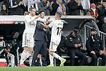 Real Madrid CF's Luka Modric (L), Lucas Vazquez and coach Santiago Solari during the King's Cup semifinals match. February 27,2019. (ALTERPHOTOS/Alconada)