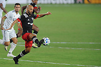 WASHINGTON, DC - AUGUST 25: Federico Higuain #2 of D.C. United moves the ball during a game between New England Revolution and D.C. United at Audi Field on August 25, 2020 in Washington, DC.