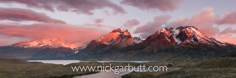 The granitic peaks of Cuernos del Paine at sunset - part of the Central Massif in Torres del Paine National Park (Parque Nacional Torres del Paine), Patagonia, Chile, South America.