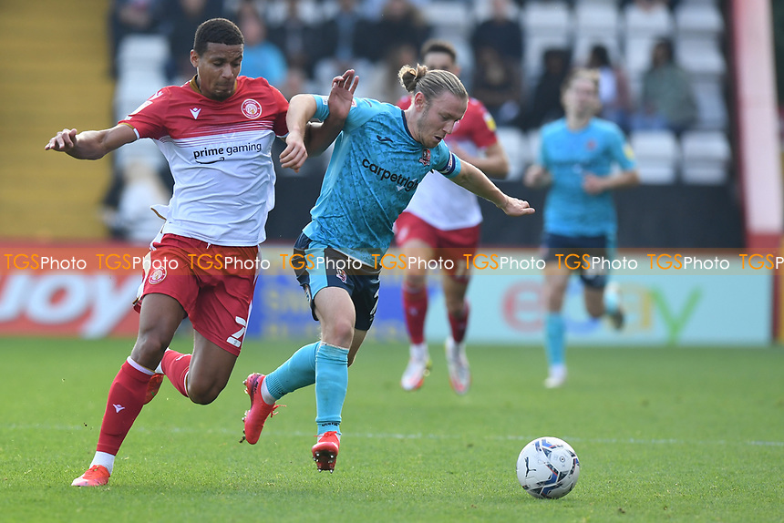 Luther Wildin of Stevenage FC and Matt Jay of Exeter City during Stevenage vs Exeter City, Sky Bet EFL League 2 Football at the Lamex Stadium on 9th October 2021