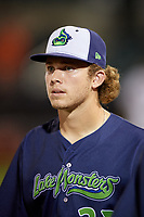 Vermont Lake Monsters pitcher Tyler Baum (27) after a NY-Penn League game against the Aberdeen IronBirds on August 19, 2019 at Leidos Field at Ripken Stadium in Aberdeen, Maryland.  Aberdeen defeated Vermont 6-2.  (Mike Janes/Four Seam Images)