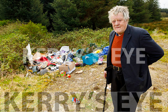 Eamon Scanlon from Kielduff at the site on his land where theres illegal dumping.