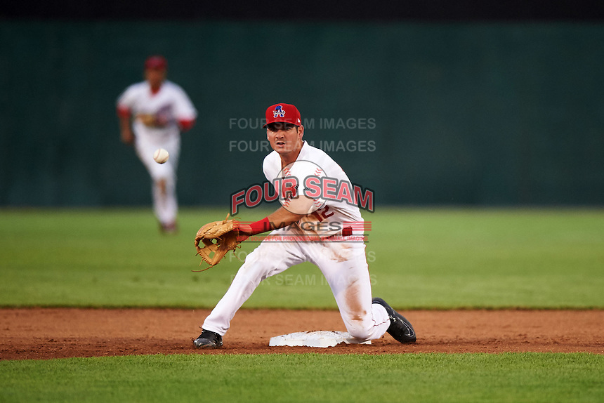 Auburn Doubledays second baseman Jake Noll (12) waits for a throw during a game against the Vermont Lake Monsters on July 12, 2016 at Falcon Park in Auburn, New York.  Auburn defeated Vermont 3-1.  (Mike Janes/Four Seam Images)