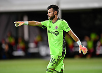 LAKE BUENA VISTA, FL - JULY 26: Quentin Westberg of Toronto FC communicates with his defenders during a game between New York City FC and Toronto FC at ESPN Wide World of Sports on July 26, 2020 in Lake Buena Vista, Florida.