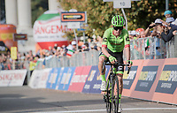 race winner Rigoberto Uran (COL/Cannondale-Drapac) crossing the finish line<br /> <br /> 98th Milano - Torino 2017 (ITA) 186km