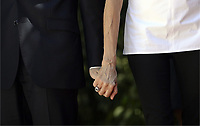 Pictured: (L-R) French President Emmanuel Macron holds hands with his wife Brigitte outside the Presidential Mansion in Athens, Greece. Thurday 07 September 2017<br /> Re: The official welcome of French President Emmanuel Macron for his state visit to Athens, Greece.