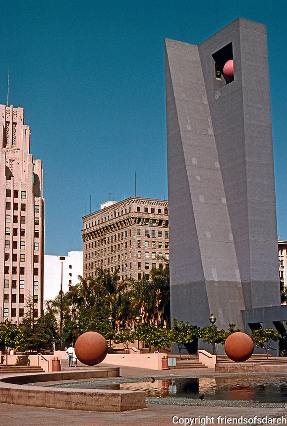 Los Angeles: Pershing Square, latest makeover 1991-93. 120 Foot high Campanile. Legoretta & Laurie Olin, Landscape Architect.