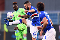 Felipe Corozo Caicedo of SS Lazio and Lorenzo Tonelli of UC Sampdoria compete for the ball during the Serie A football match between UC Sampdoria and SS Lazio at stadio Marassi in Genova (Italy), October 17th, 2020. <br /> Photo Image Sport / Insidefoto