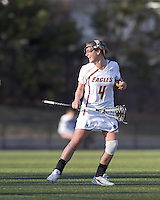 Boston College attacker Brooke Blue (4) celebrates her goal. University at Albany defeated Boston College, 11-10, at Newton Campus Field, on March 30, 2011.