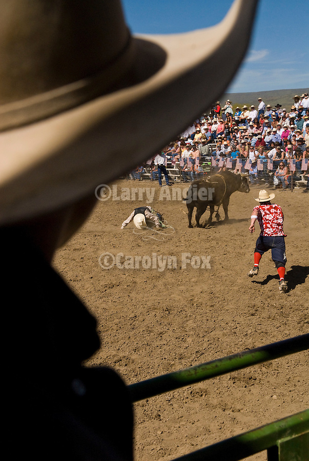 A cowboy kissed the dirt after he is thrown from a bull at the Jordan Valley Big Loop Rodeo, .