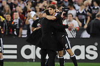 DC United defender Dejan Jakovic (5) celebrates with Head Coach Ben Olsen the victory at the end of the game.   DC United defeated The Columbus Crew 3-1  at the home season opener, at RFK Stadium, Saturday March 19, 2011.
