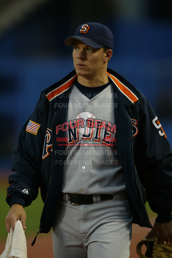 Jake Peavy of the San Diego Padres during a 2003 season MLB game at Dodger Stadium in Los Angeles, California. (Larry Goren/Four Seam Images)