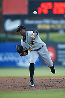 West Virginia Power starting pitcher Domingo Robles (25) delivers a pitch to the plate against the Kannapolis Intimidators at Kannapolis Intimidators Stadium on July 25, 2018 in Kannapolis, North Carolina. The Intimidators defeated the Power 6-2 in 8 innings in game one of a double-header. (Brian Westerholt/Four Seam Images)