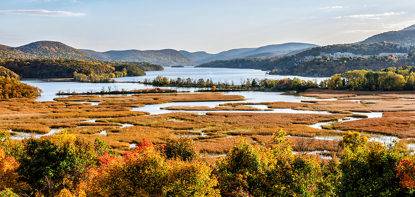 View of Constitution Marsh and the Hudson River in autumn, looking south from the grounds of the Boscobel mansion in Cold Spring, NY.