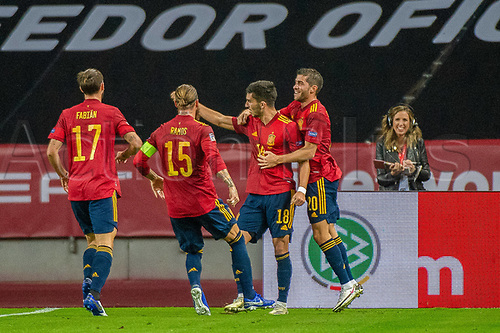 17th November 2020;  Estadio La Cartuja de Sevilla, Seville, Spain; UEFA Nations League Football, Spain versus Germany;  Fabian Ruiz (esp), 17, Sergio Ramos (esp) and Ferran Torres (esp) celebrate their goal