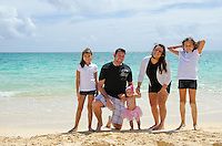 Jason and Alyssa and there three lovely girls, Leilani, Ke'alohi and Emma on Lanikai beach, Oahu