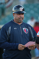 Lancaster JetHawks Manager Fred Ocasio (28) before a game against the San Jose Giants at The Hanger on April 10, 2017 in Lancaster, California. Lancaster defeated San Jose 11-7. (Larry Goren/Four Seam Images)