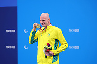 25th August 2021; Tokyo, Japan; Gold medalist CROTHERS Rowan (AUS) celebrates on the podium for the Swimming : Men's 50m Freestyle - S10 Final - Medal Ceremony on August 25, 2021 during the Tokyo 2020 Paralympic Games at the Tokyo Aquatics Centre in Tokyo, Japan.