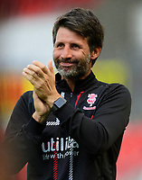 Lincoln City manager Danny Cowley applauds the fans during the pre-match warm-up<br /> <br /> Photographer Chris Vaughan/CameraSport<br /> <br /> EFL Leasing.com Trophy - Northern Section - Group H - Doncaster Rovers v Lincoln City - Tuesday 3rd September 2019 - Keepmoat Stadium - Doncaster<br />  <br /> World Copyright © 2018 CameraSport. All rights reserved. 43 Linden Ave. Countesthorpe. Leicester. England. LE8 5PG - Tel: +44 (0) 116 277 4147 - admin@camerasport.com - www.camerasport.com