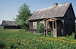 A traditional wood-built Polish, peasant's house on the Polish Byelorussian border. Poland.