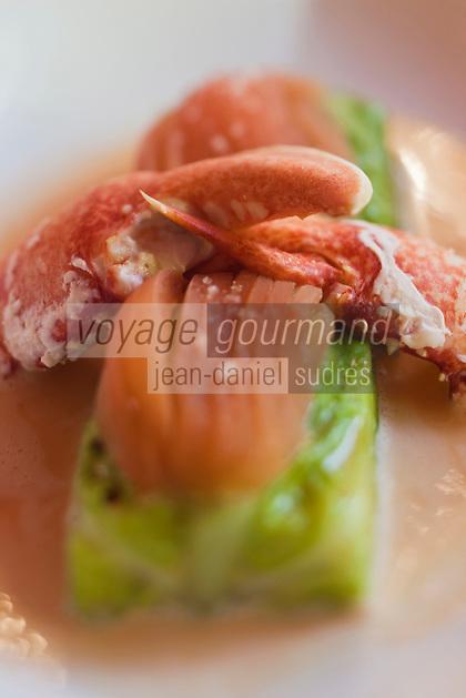 Europe/France/Bretagne/56/Morbihan/ Questembert: Restaurant: Le Bretagne - Chou farçi de Homard à l'effilochée de tomate recette d' Alain Orillac