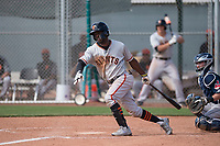 San Francisco Giants second baseman Kelvin Beltre (5) follows through on his swing during a Minor League Spring Training game against the Cleveland Indians at the San Francisco Giants Training Complex on March 14, 2018 in Scottsdale, Arizona. (Zachary Lucy/Four Seam Images)
