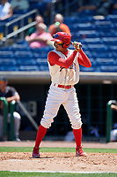 Clearwater Threshers shortstop Arquimedes Gamboa (7) at bat during a game against the Jupiter Hammerheads on April 11, 2018 at Spectrum Field in Clearwater, Florida.  Jupiter defeated Clearwater 6-4.  (Mike Janes/Four Seam Images)