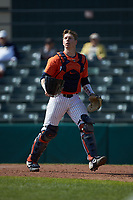 Illinois Fighting Illini catcher JacobCampbell (9) on defense against the West Virginia Mountaineers at TicketReturn.com Field at Pelicans Ballpark on February 23, 2020 in Myrtle Beach, South Carolina. The Fighting Illini defeated the Mountaineers 2-1.  (Brian Westerholt/Four Seam Images)