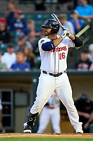 Rochester Red Wings Mike Ford (16) bats during a game against the Worcester Red Sox on September 3, 2021 at Frontier Field in Rochester, New York.  (Mike Janes/Four Seam Images)